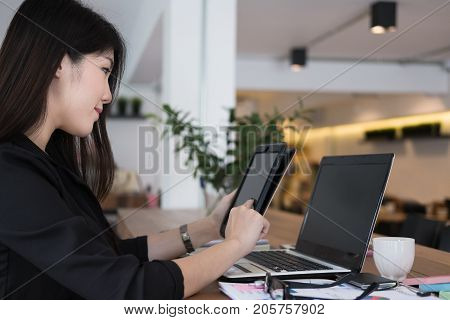 Businesswoman Use Tablet At Workplace. Young Woman Working On Touchpad At Office. Freelancer Connect