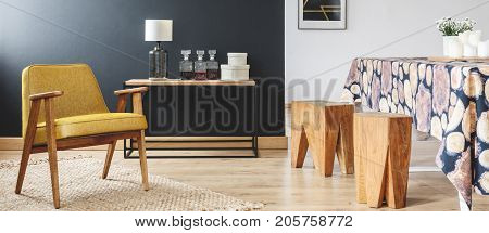 Dining Room With Wooden Stools