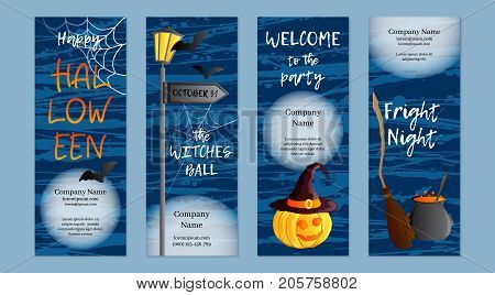 Vector set of four vertical banners. Halloween theme. Traditional holiday symbol Jack o lantern, witch hat, broom, cauldron, bat, web. Abstract blots background. Place for your text.
