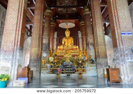 Phetchaburi Thailand - August 14 2013 : Buddha statue in the temple at Wat Yai Suwannaram.