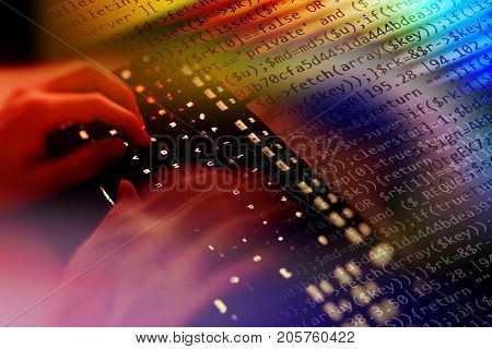 Hacker writing malicious code for an attack on the internet.