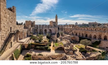 Panorama of David Tower in Jerusalem Old City, Israel.