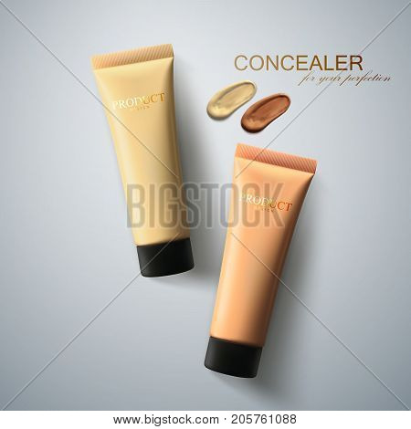 Foundation cream packaging design. Beauty makeup ad poster. Concealer tubes with facial tone cream smear. 3d cosmetic product realistic vector. Women fashion makeup illustration. Top view