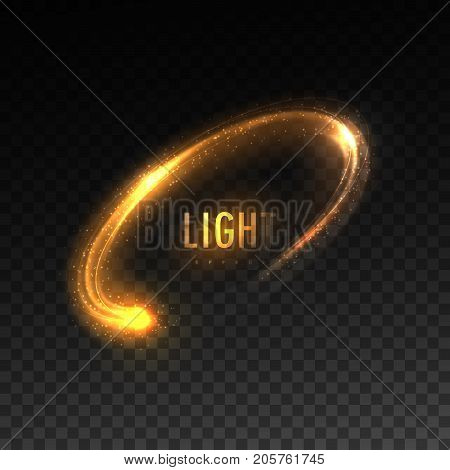 Vector orange circular light stream isolated on checkered transparent background. Glowing tracing neon light effect. Vector illustration. Luminous ellipse line. Illumination VFX
