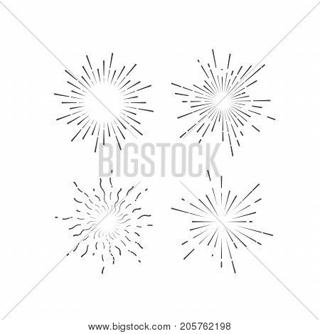 Outline firework explosion shapes isolated on white. Starburst or sunburst collection. Vintage burst light rays. Vector graphic sketch illustration. Set of labels. Design elements