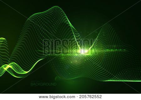 3D glowing neon digital wave of particles and lens flare light effect. Abstract technology background. Futuristic vector illustration of shiny flowing stream. Virtual cyberspace. HUD element. poster