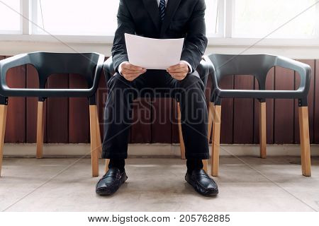 Business people waiting for job interview.Business situation job interview concept. Human resource. Job applicant.