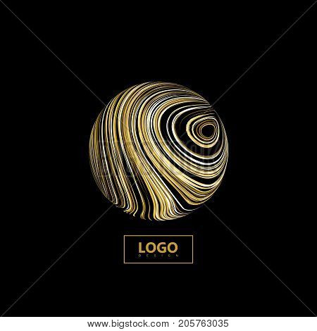 Abstract 3D sphere textured with swirled golden lines.. Vector creative illustration of curled stripes shape. Marble or acrylic texture imitation. Logo design. Decorative element for design