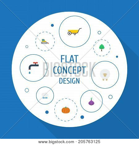 Flat Icons Lamb, Faucet, Timber And Other Vector Elements