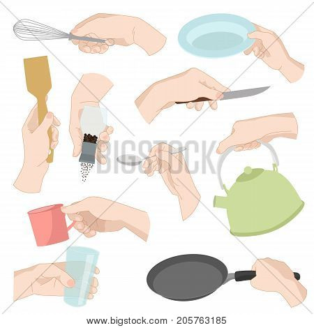 Restaurant kitchen ware human hands cooking food home utensils graphic kitchenware utensils vector illustration. Household accessories tableware items. Teapot, knife, cup
