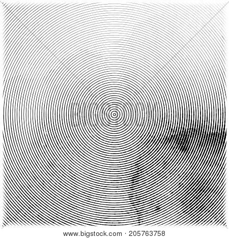 Abstract engraved grunge texture. Watercolor background etching with concentric circles. Vector vintage engraving wallpaper