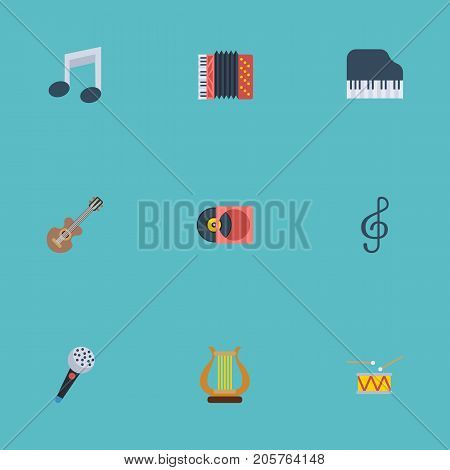 Flat Icons Tambourine, Quaver, Acoustic And Other Vector Elements