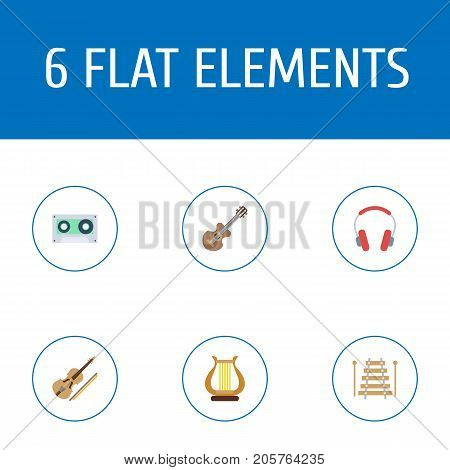 Flat Icons Lyre, Musical Instrument, Earphone And Other Vector Elements