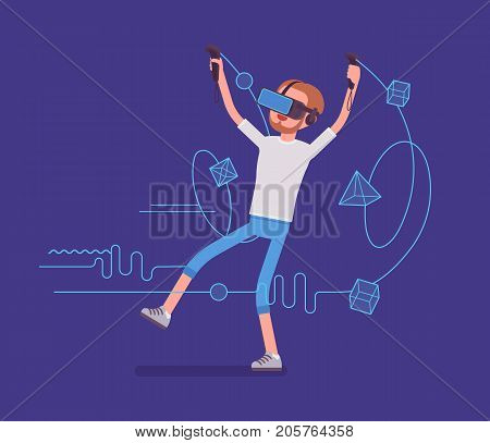 VR man having drawing positive experience. Testing exciting new technology transforming linework into objects. Virtual reality and entertainment concept. Vector flat style cartoon illustration