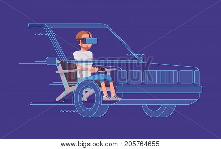 VR man driving test. Using advanced technology to imitate road with the driver simulator, practice for licence. Virtual reality and entertainment concept. Vector flat style cartoon illustration