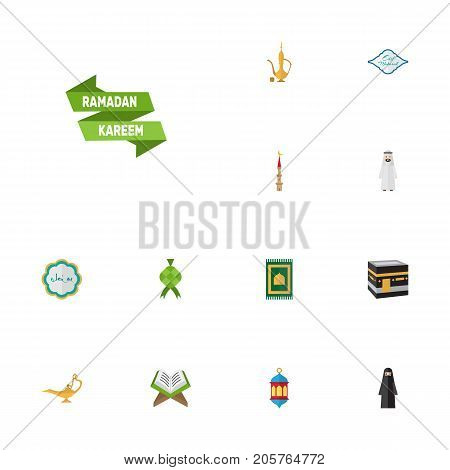 Flat Icons Islamic Lamp, Mecca, Muslim Woman And Other Vector Elements