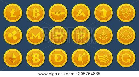 Different coins of crypto currency. Virtual electronic money. Bitcoin pictures in cartoon style. Cryptocurrency golden coin money bitcoin and litecoin, vector illustration