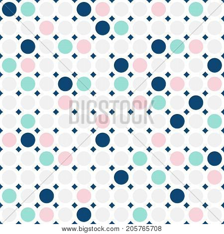 Colorful circles seamless pattern. Fashionable geometric background in trendy colors: pink, navy, light grey, mint. Simple dots texture. Stylish design for textile, cover, invitation cards. Dots pattern. Girls pattern. Boys pattern. Clothes pattern.