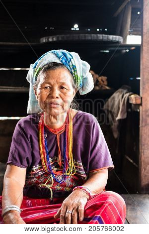 Unidentified Elder Woman From Karen Ethnic Hill Tribe Minority With Traditional Clothes