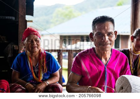 CHIANG MAI, THAILAND - SEPTEMBER 14: Unidentified elder man and woman from Karen ethnic hill tribe minority with traditional clothes in Chiang Mai Thailand on September 14 2017.