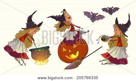Halloween Witch set. The young witch sits on a pumpkin and laughs holds a spider cooks the potion in the cauldron at the stake. Elements for design prints and greeting cards. Halloween series