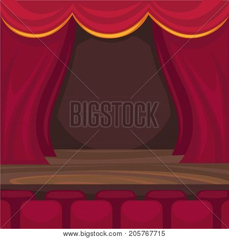 Small stage with red curtains, wooden floor and soft seats at spectator room for comic monologues and magician performance cartoon vector illustration. Public place for entertainment interior design.