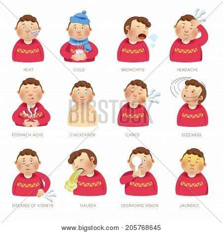 Illness and disease ill child symptoms of heat fever, cold flu or chicken pox and stomach ache, tooth caries or head dizziness and kidney disease or vision degrading and jaundice. Vector flat icons