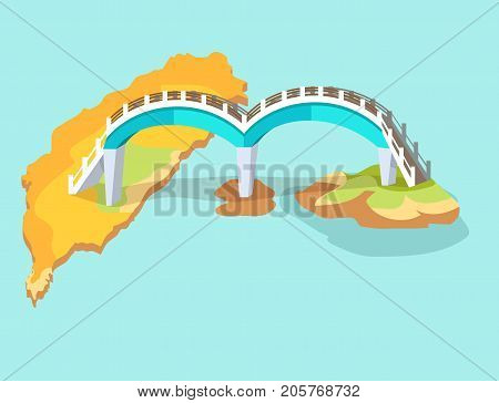 Dragon arched bridge in Taiwan drawn icon isolated on blue. Vector illustration of Formosa bridgework located between several islets and ends on largest of Sanyatay aits. Two arches on lower islands.