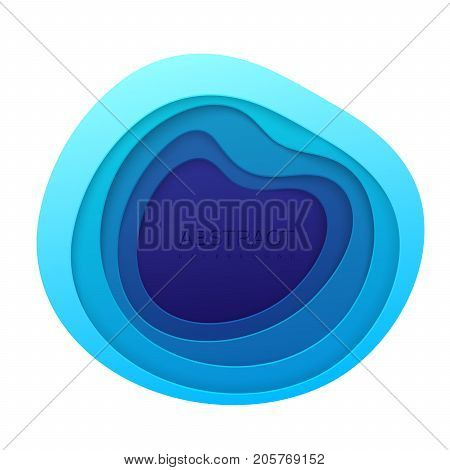 Blue paper topography relief. Abstract paper cut background. Realistic papercut frame textured with wavy layers. Carving art. Vector 3d illustration. Material design concept. Template for design
