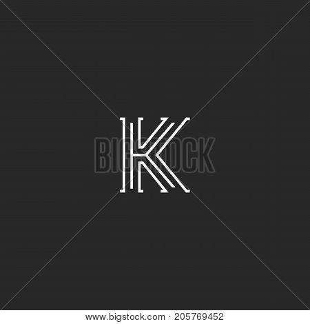 Letter K Logo Medieval Monogram Black And White, Minimal Thin Lines Initial Elegant Design Element T