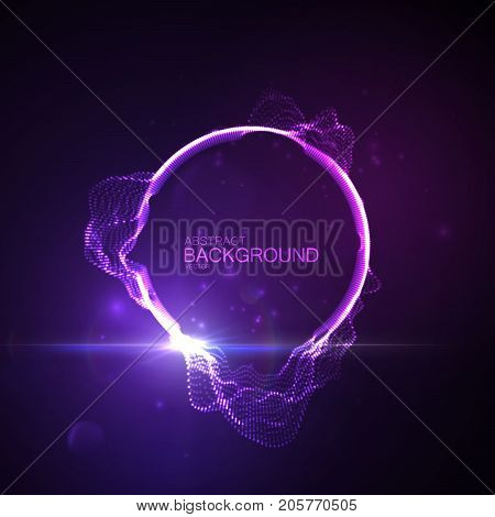 Neon glowing abstract equalizer shape with lens flare light effect. Vector futuristic illustration. Technology concept. Soundwave form visualization. Sound pulse. Audio vibrations.