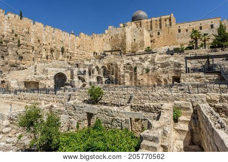 JERUSALEM, ISRAEL - MAY 12: The Al-Aqsa Mosque and archaeological site on the Temple Mount in Old City of Jerusalem, Israel on May 12, 2017