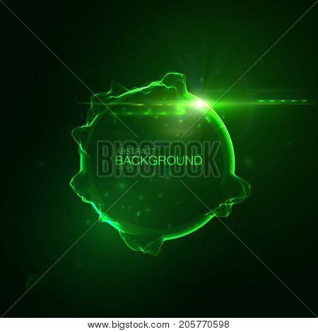 Neon glowing abstract sphere with lens flare light effect. Vector futuristic illustration. Technology concept. Sound vibes visualization. Audio equalizer shape. Sound wave