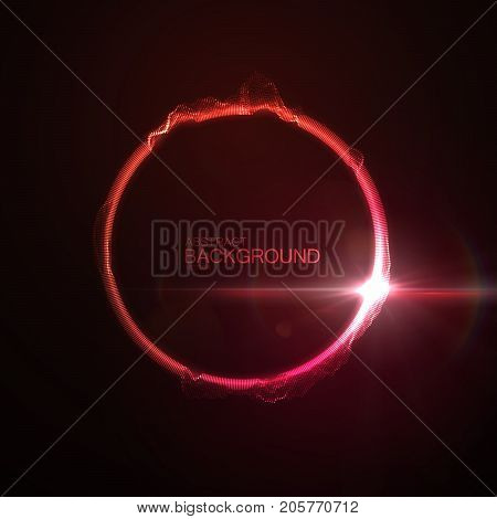 Red neon glowing abstract distorted ring or circle shape with lens flare light effect. Vector futuristic illustration. Technology concept. Sound wave or equalizer form visualization. Audio vibrations.