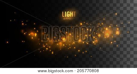 Golden glittering sparkles isolated on dark checkered transparent background. Vector illustration of shiny particles. Luminous fire stars. Light bokeh effect. Glowing element for design