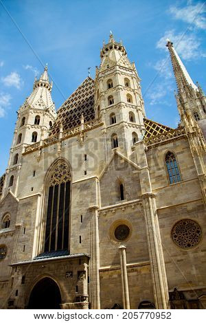 St. Stephen's Cathedral in Vienna Austria. The view of two Romanesque Towers details of architecture. Ancient building the famous catholic church in the center of Viena