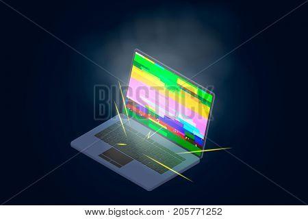 Broken laptop for design of business cards, sites of repair of equipment.