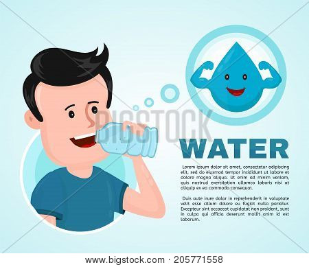 Water in body infographic. Young man drink water. Vector flat modern style illustration character icon design. Isolated on white background.  Healthy care, body balance, anatomy concept
