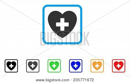Cardiology icon. Flat pictogram symbol in a rounded frame. Black, gray, green, blue, red, orange color additional versions of Cardiology vector. Designed for web and software user interface.
