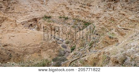 The Wadi Qelt or Nahal Prat, mountain area in the north of the Judean Desert, Israel