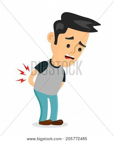 backache problems.vector flat cartoon concept illustration of men character design icon. Isolated on white background. Pain in back, ache, hurt, suffering
