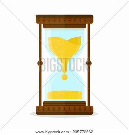 Retro old vintage hourglass, sandglass, glass. Vector flat modern style illustration icon design. Isolated on white background. Time deadline concept