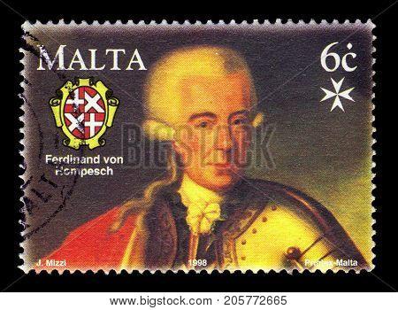 Malta - CIRCA 1998: A stamp printed in Malta shows Grand Master Ferdinand von Hompesch zu Bolheim, bicentennial of capitulation of Malta to Napoleon I in 1798, circa 1998
