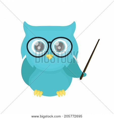 Smart owl teacher with a pointer. Vector flat cartoon character illustration design. Isolated on white background