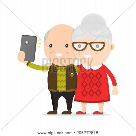 Old man and woman, grandmother and grandfather, Do selfie photo on a smartphone phone. Vector flat modern style illustration character icon design. Isolated on white background.  Progressive old men