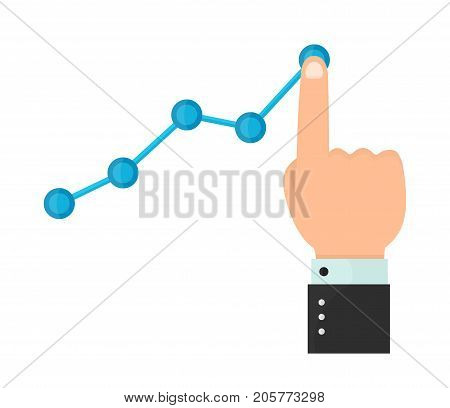 Finger up holding chart arrow. Businessman manages financial growth graph. Profit growing concept. business vector modern style cartoon illustration icon design. Isolated on white background