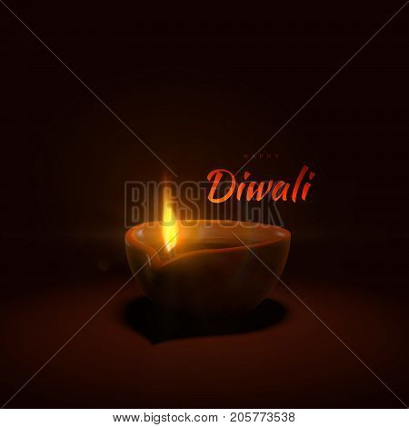 Happy Diwali. Indian festival of lights and fire. Vector hindu holiday illustration of oil lamp diya with flame and sparkles. Deepavali religion event.
