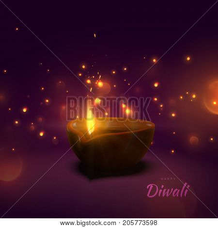 Happy Diwali. Indian festival of lights and fire. Vector hindu holiday illustration of oil lamp diya with flame, sparkles and blurred lights. Deepavali religion event.