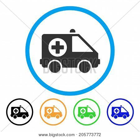 Ambulance Van rounded icon. Style is a flat ambulance van grey symbol inside light blue circle with black, yellow, green, blue color versions. Vector designed for web and software interfaces.