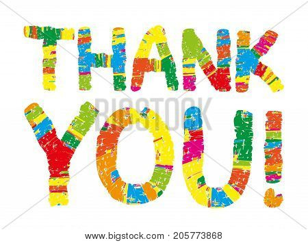 Thank you color abstract lettering. handwritten inscription. Hand drawn lettering calligraphy. Thank you card. Vector illustration. Isolated on white background. Kid, children, happy font